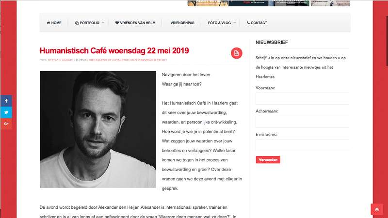Humanistisch cafe in de Societeit op HRLM site
